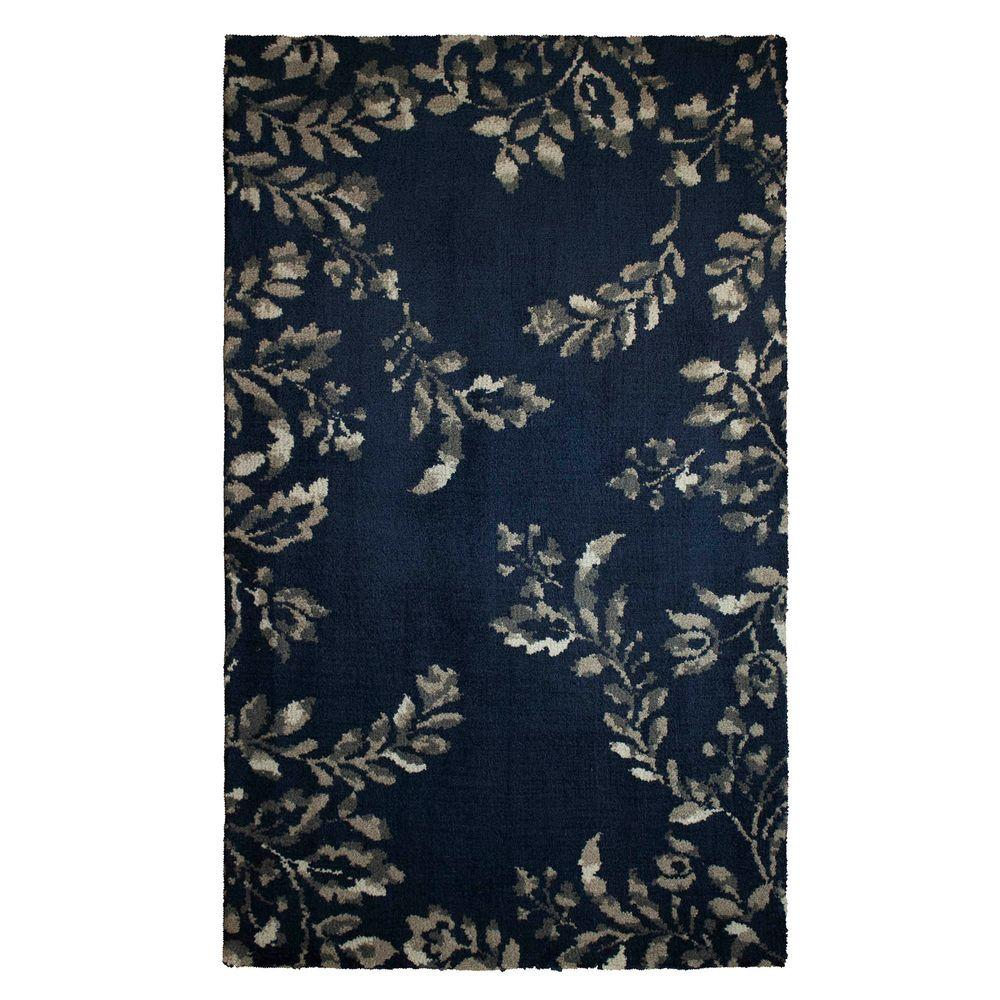 Plush Navy Rug: Laura Ashley Winchester Plush Knit Navy Blue 2 Ft. 3 In. X