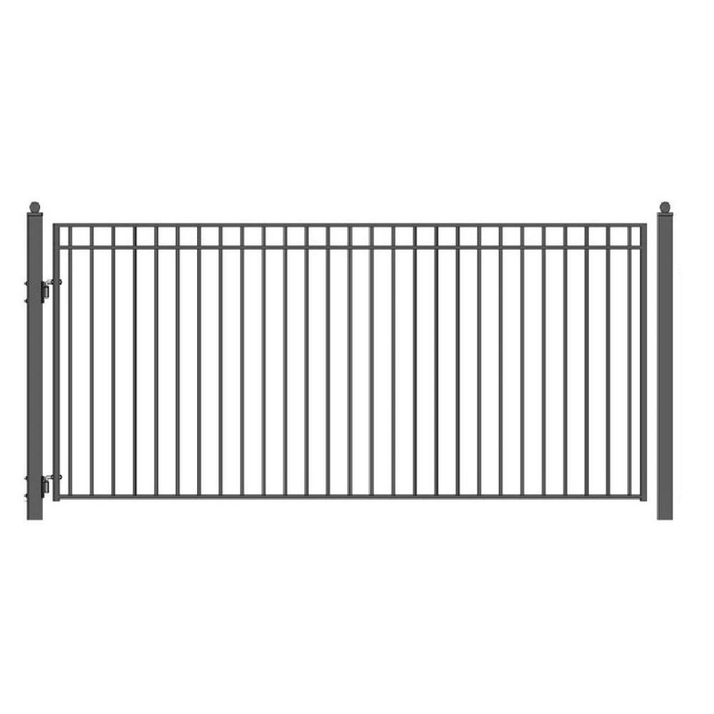 Madrid Style 14 ft. x 6 ft. Black Steel Single Swing Driveway Fence Gate