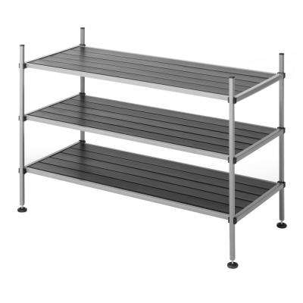 25.5 in. W x 17 in. H x 12 in. W 3-Tier Metal Storage Shelf in Black