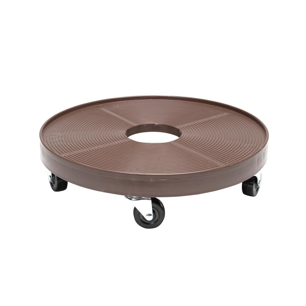 16 in. Espresso Round HDPE Plant Dolly