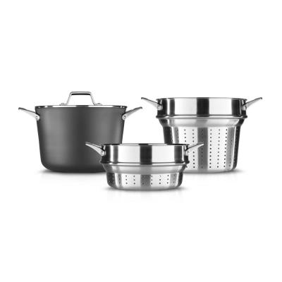Premier Large 12 qt.Hard-Anodized Nonstick Multi-Pot with Pasta and Steamer Inserts and Cover