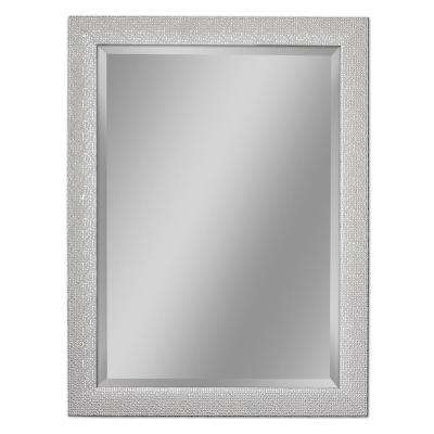 28 in. W x 36 in. H Squares Wall Mirror in Chrome and White