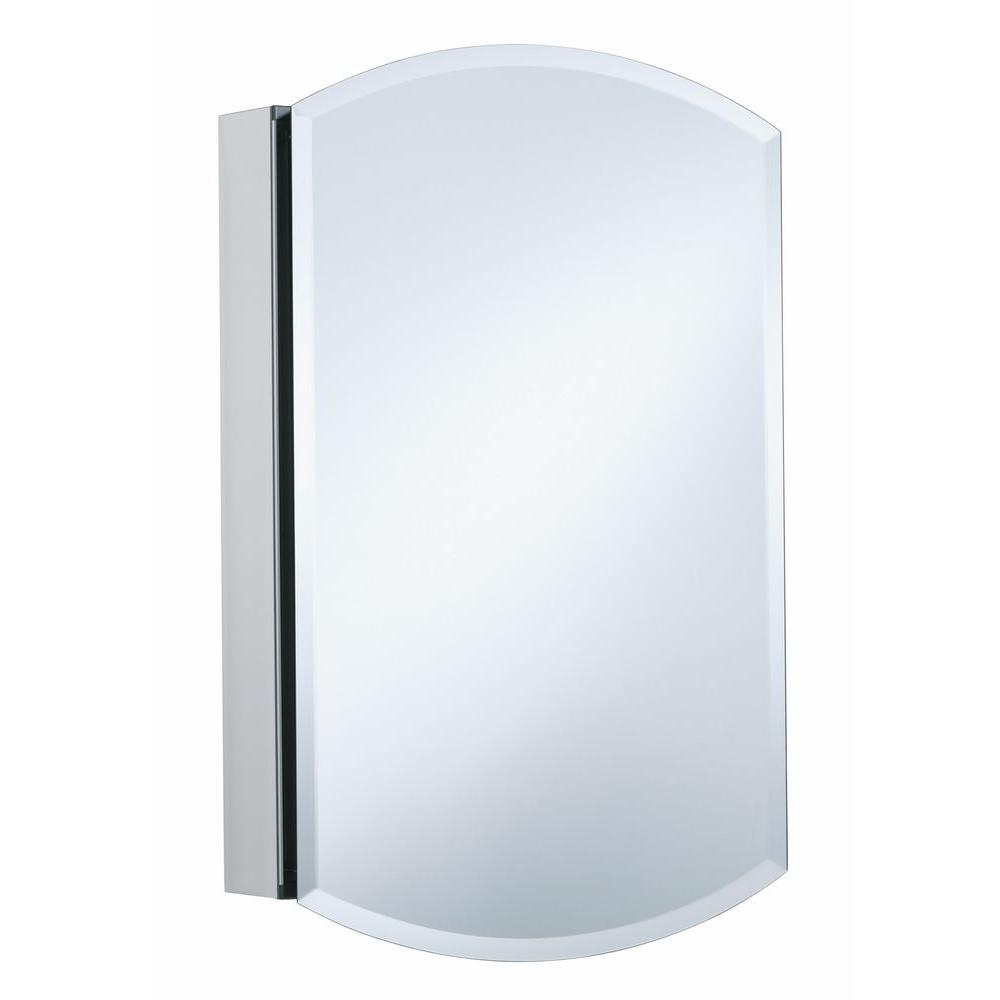H Single Door Mirrored Recessed Medicine Cabinet In Anodized Aluminum K 3073 NA