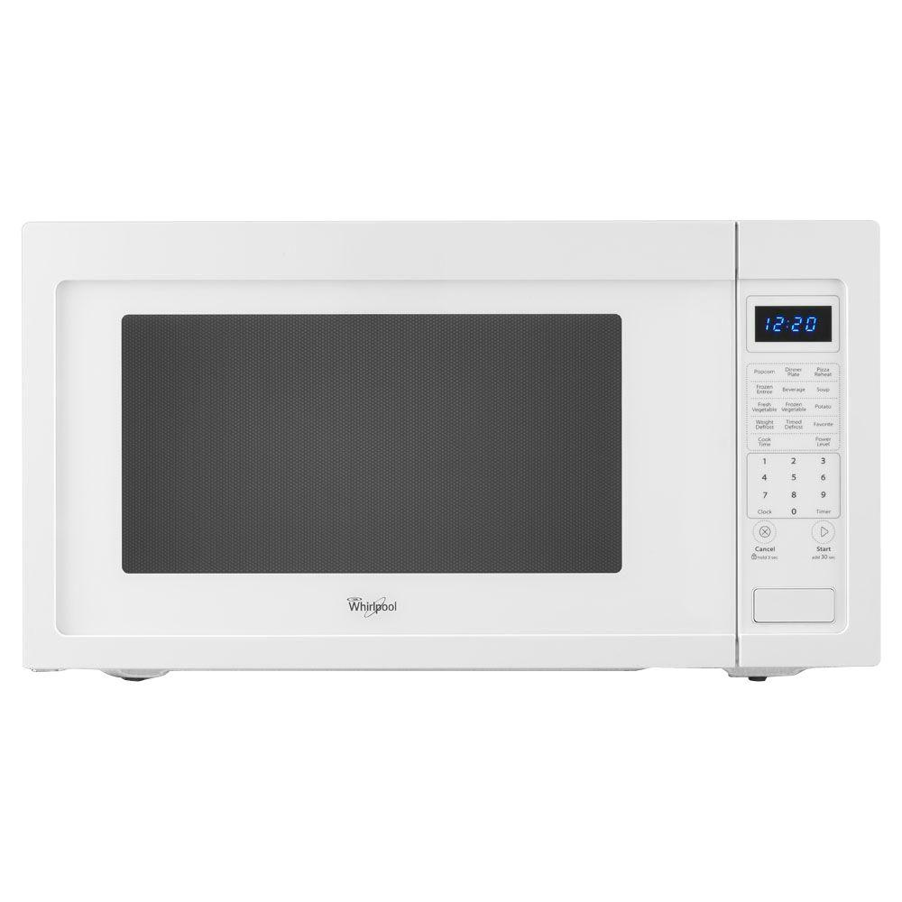 Whirlpool 2 Cu Ft Countertop Microwave In White Built Capable With Sensor Cooking Wmc50522aw The Home Depot