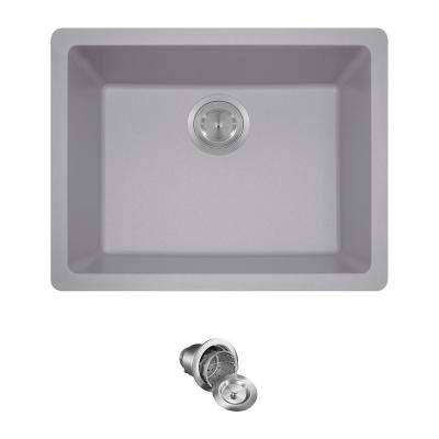 All-in-One Dualmount Quartz 22 in. Single Bowl Kitchen Sink in Silver