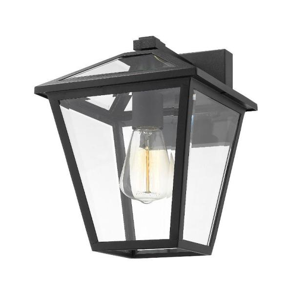 Filament Design 1 Light Black Outdoor Wall Sconce With Clear Beveled Glass Hd Te43560 The Home Depot