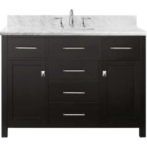Virtu USA Caroline 48 inch W x 22 inch D Single Vanity in Espresso with Marble Vanity Top in White with White Basin by Virtu USA