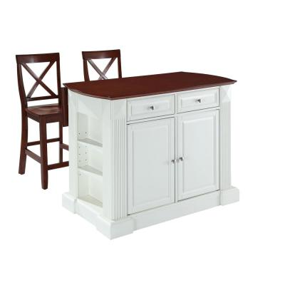 Coventry White Drop Leaf Kitchen Cart with X-Back Stools