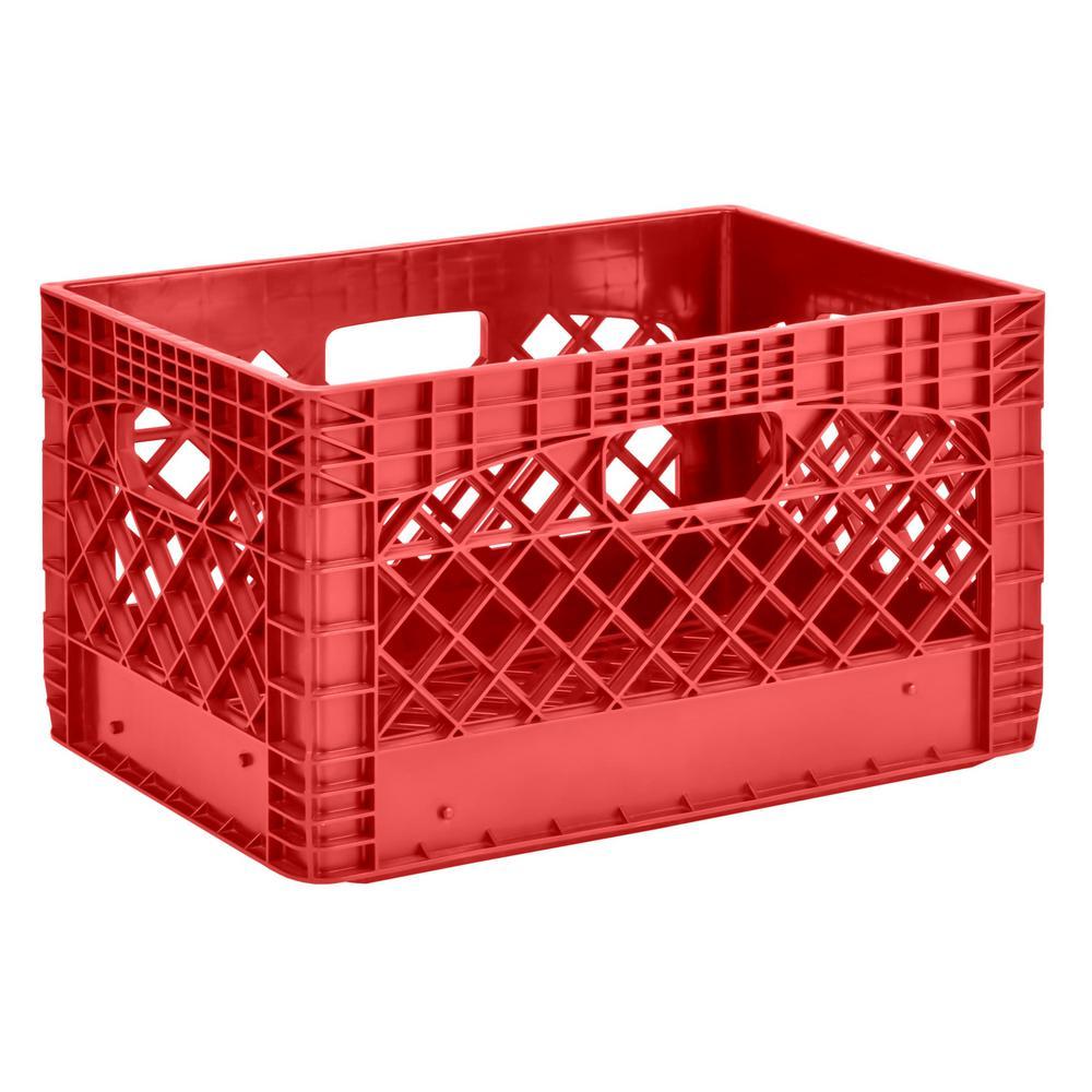 11 in. H x 13 in. W x 19 in. D Plastic Storage Milk Crate in Red (3-Pack)