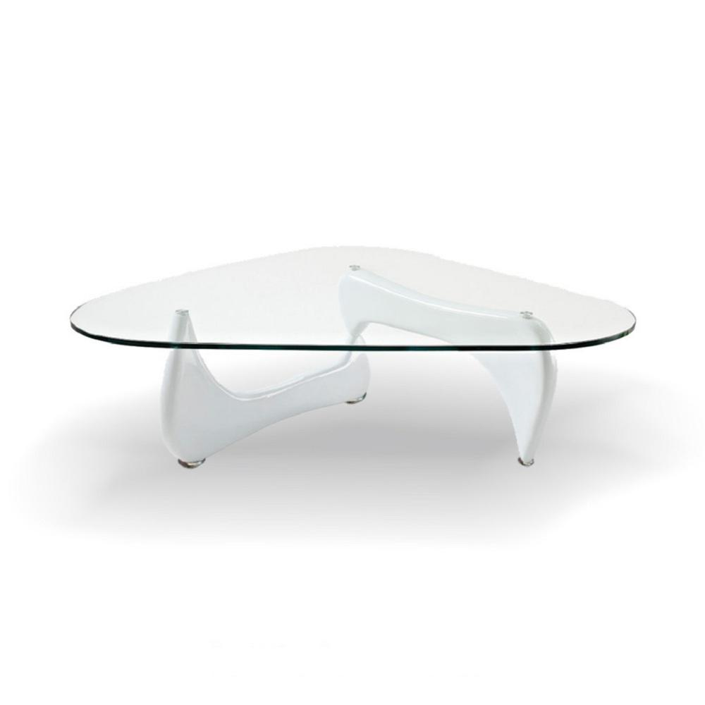 Gentil Fab Glass And Mirror Noguchi Style Coffee Table White Color With Clear Glass  Top