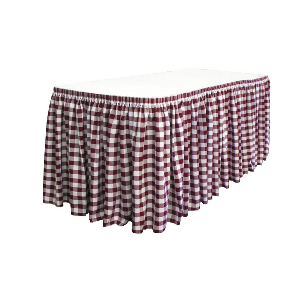 21 ft. x 29 in. Long White and Burgundy Polyester Gingham