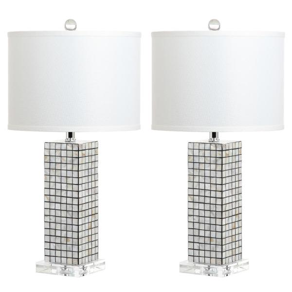Skagway 25.5 in. Black/Cream Mosaic Table Lamp with Off-White Shade (Set of 2)