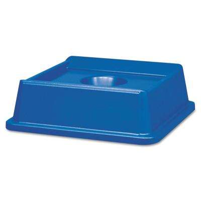 Untouchable 35 and 50 Gal. Blue Square Trash Can Bottle and Can Recycling Top Lid