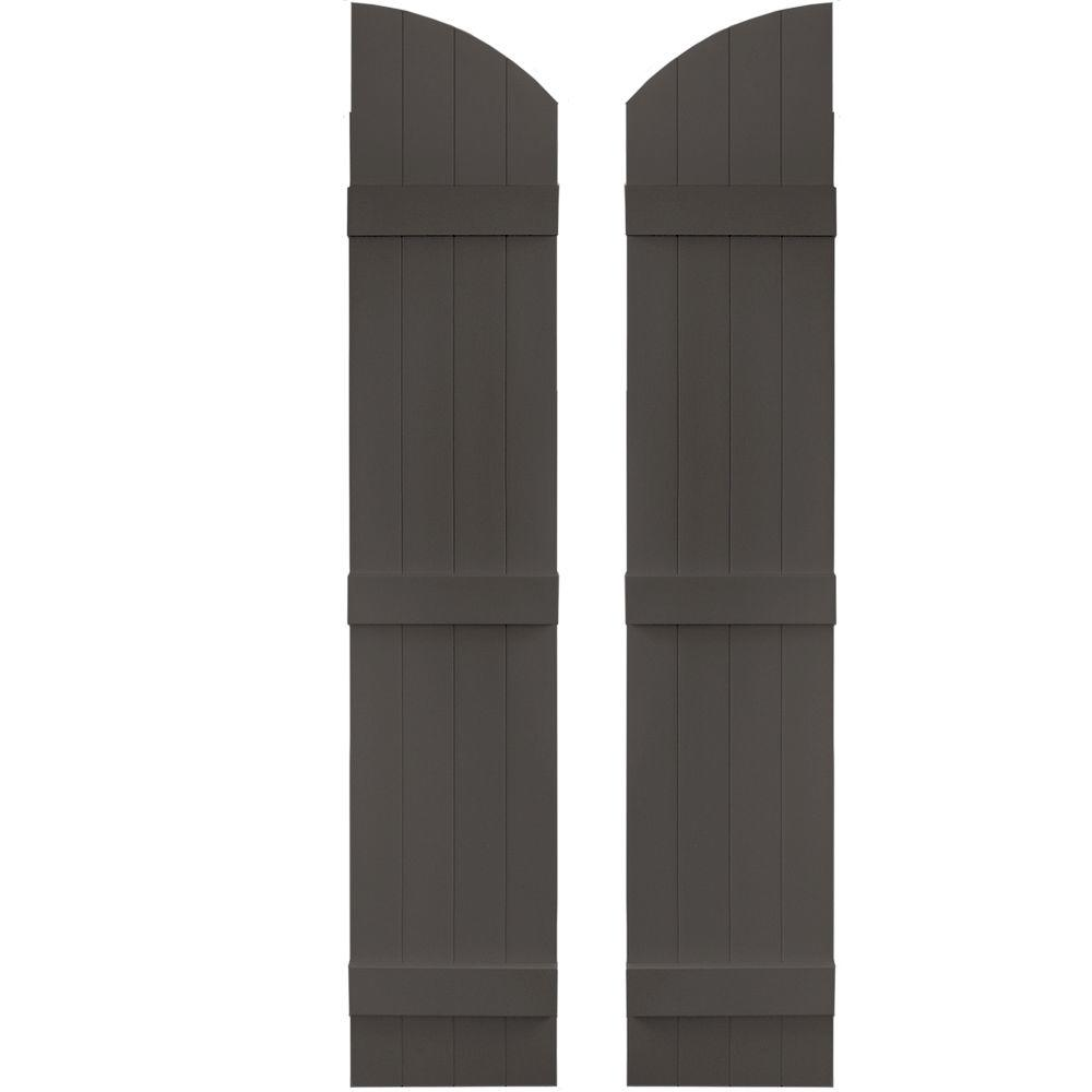Builders Edge 14 in. x 69 in. Board-N-Batten Shutters Pair, 4 Boards Joined with Arch Top #018 Tuxedo Grey