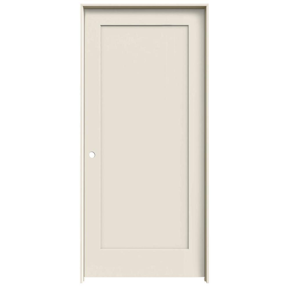 JELD-WEN 36 in. x 80 in. Madison Primed Right-Hand Smooth Molded Composite MDF Single Prehung Interior Door