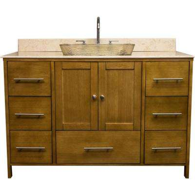 Manhattan 48.75 in. W x 22.25 in. D Bath Vanity in Bamboo with Granite Vanity Top in Beige with Fawn Basin