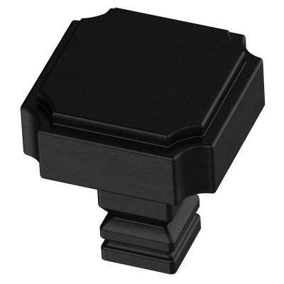 Notched 1-1/8 in. (28mm) Matte Black Square Cabinet Knob