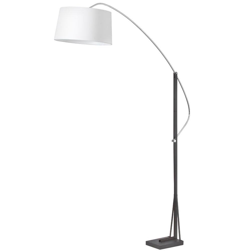 Catherine 83 in. Polished Chrome and Matte Black Floor Lamp