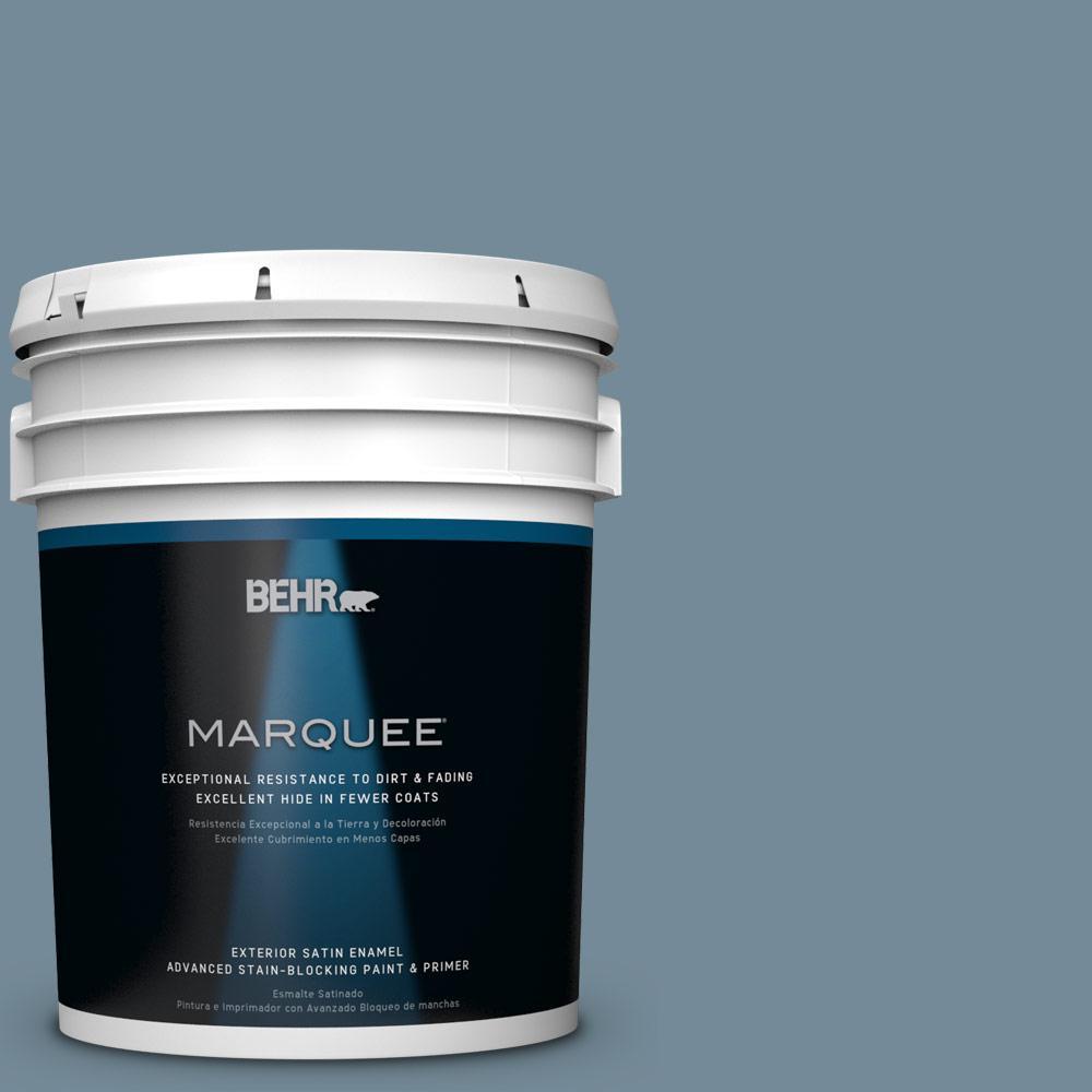 BEHR MARQUEE 5-gal. #QE-54 Shaker Blue Satin Enamel Exterior Paint