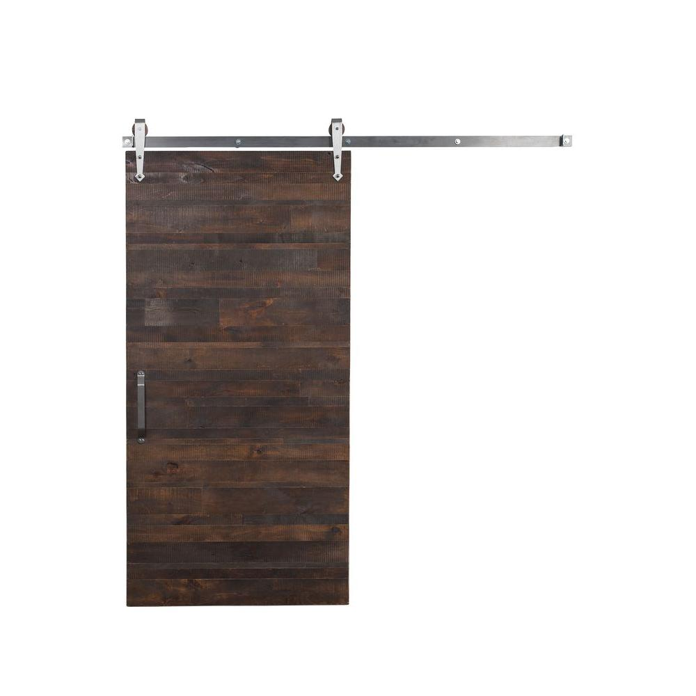 Rustica Reclaimed Wood Barn Door With Arrow Sliding Door Hardware Kit