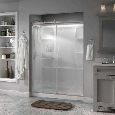 Simplicity 60 in. x 71 in. Semi-Frameless Contemporary Style Sliding Shower Door in Nickel with Niebla Glass