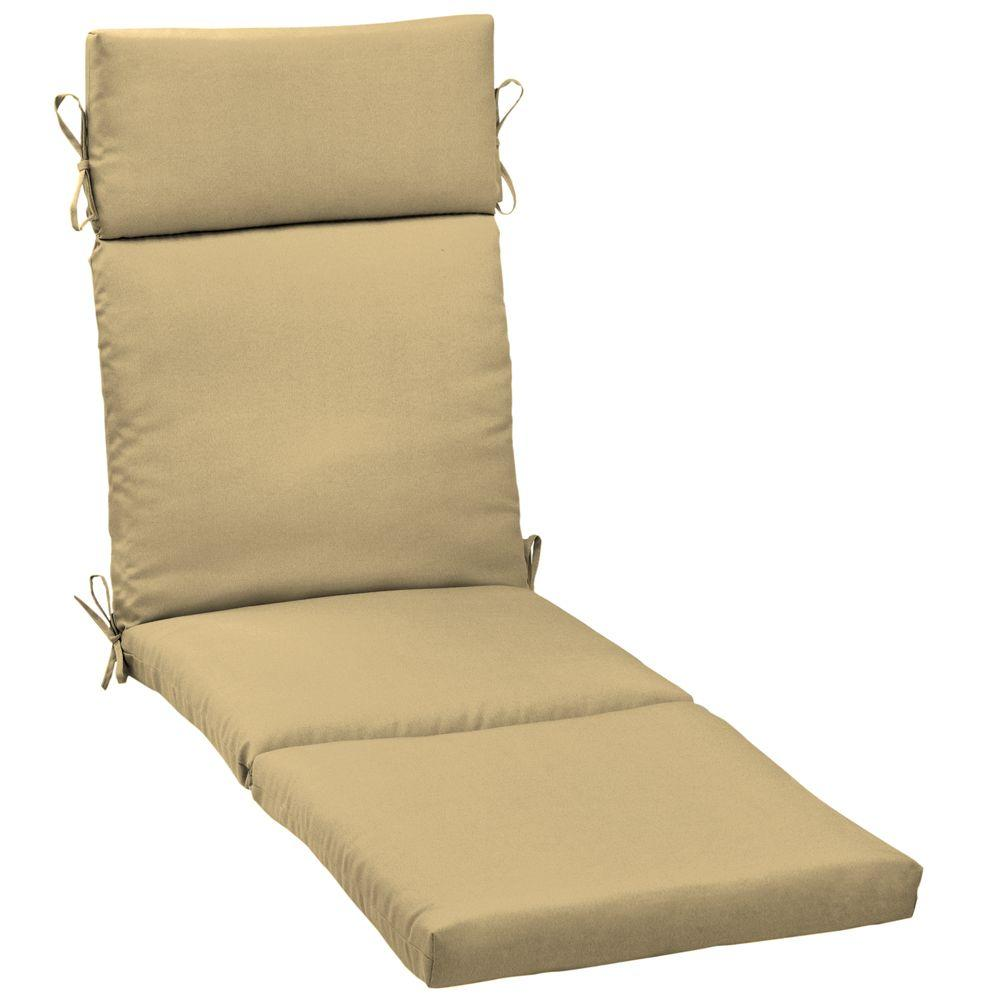 Hampton Bay Roux Tan Outdoor Chaise Cushion-DISCONTINUED