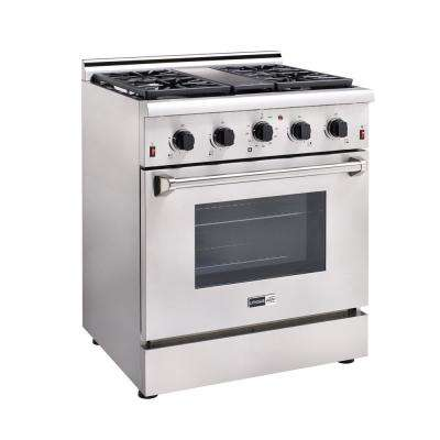 Elite 30 in. 3.8 cu. ft. Gas Range with Sealed Burners, Griddle and Convection Oven in Stainless Steel