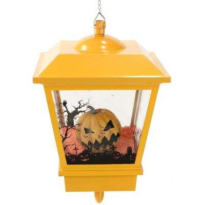 18 in. Orange Hanging Jack-O-Lantern Halloween Lantern with Animation and Spooky Music