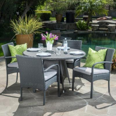 Nasir Grey 5-Piece Wicker Circular Outdoor Dining Set with Grey Cushion