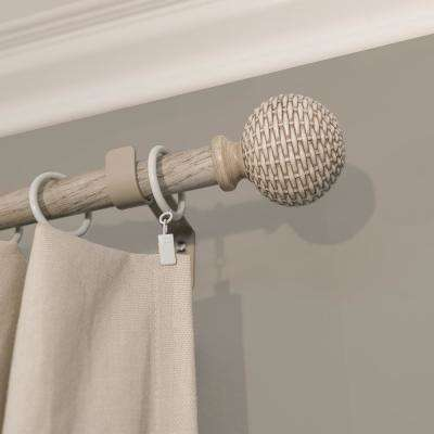 Light Brown Wood Curtain Rods Window Treatments The Home Depot