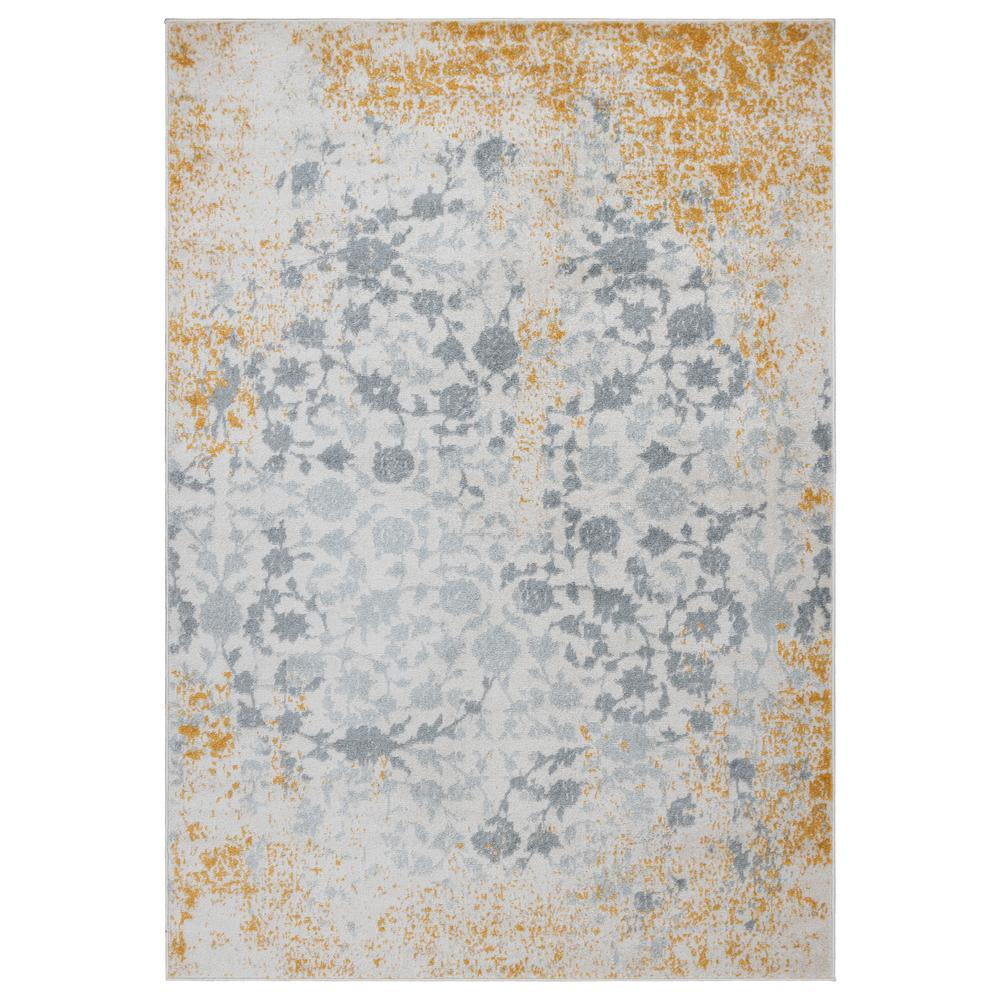 OTTOMANSON Ottomanson Rixos Collection Ivory / Gold 5 ft. 3 in. x 7 ft. Modern Distressed-Look Floral Design Area Rug