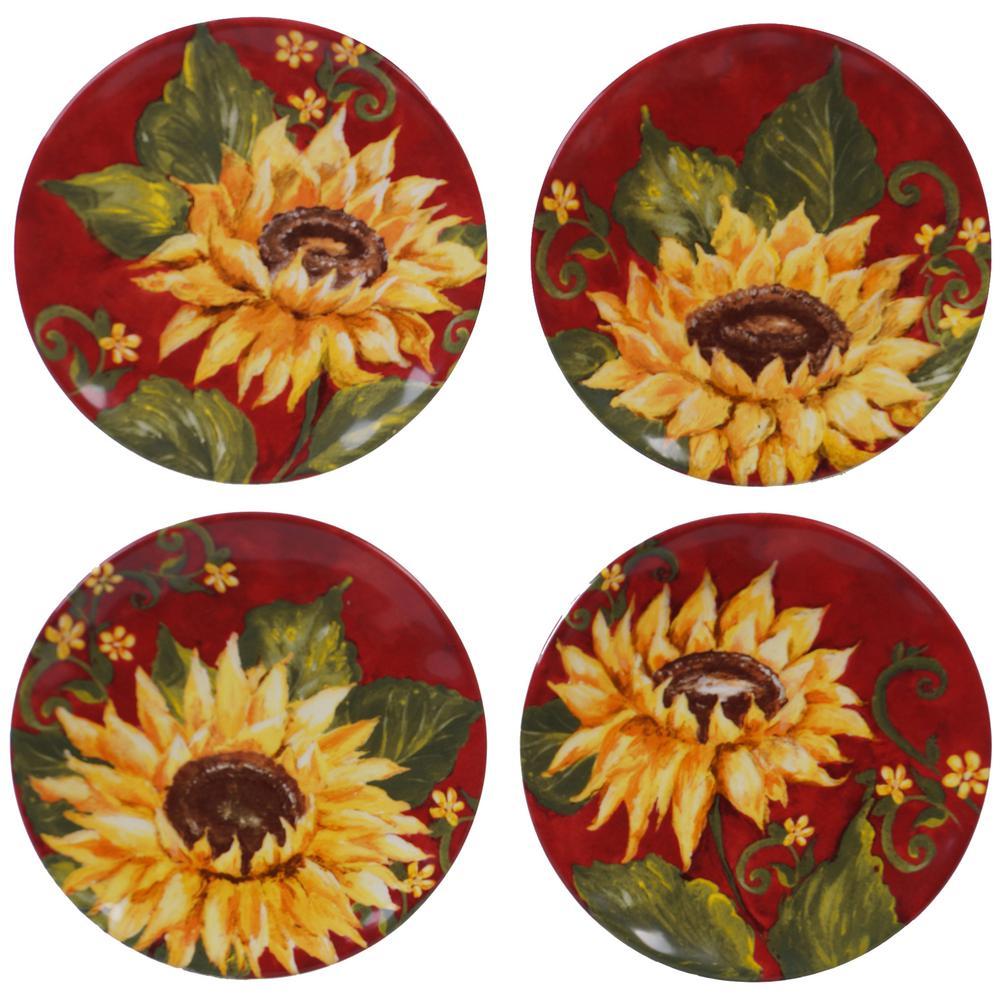 Sunset Sunflower Multi-color Canape Plate (Set of 4)