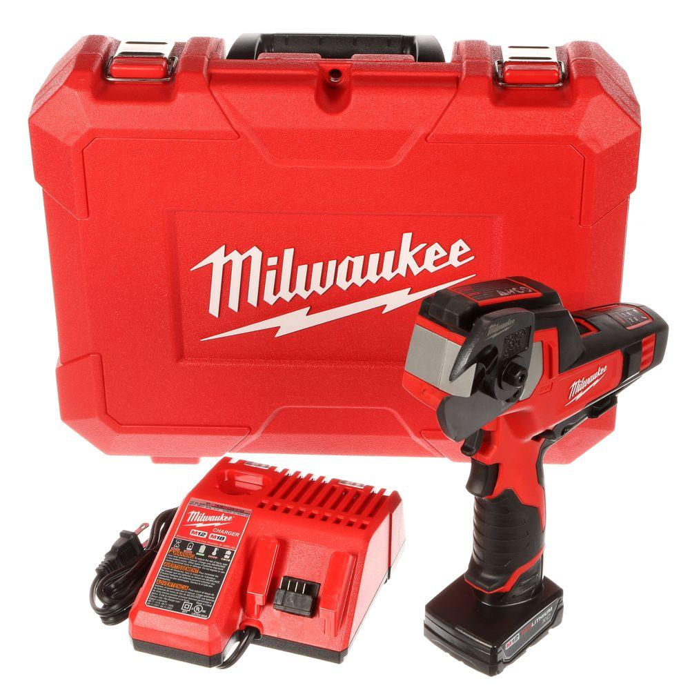 Milwaukee M12 12-Volt Lithium-Ion Cordless 600 MCM Cable Cutter Kit W/(1) 3.0Ah Battery, Charger & Hard Case