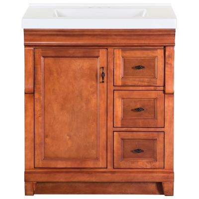 Naples 31 in. W x 22 in. D Bath Vanity in Warm Cinnamon with Cultured Marble Vanity Top in White with White Sink