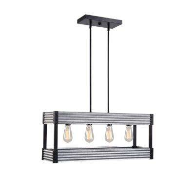 Pioneer 4 Light Matte Black Island Chandelier with Galvanized Tin Accents