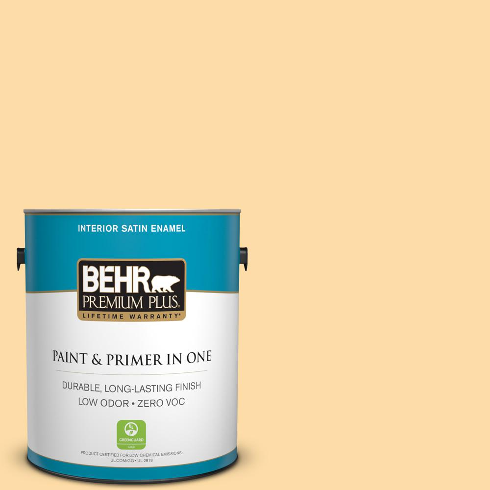 1-gal. #300A-3 Melted Butter Zero VOC Satin Enamel Interior Paint