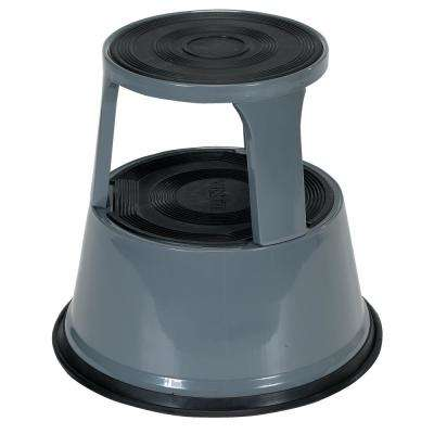 17 in. Gray Rolling Step Stool