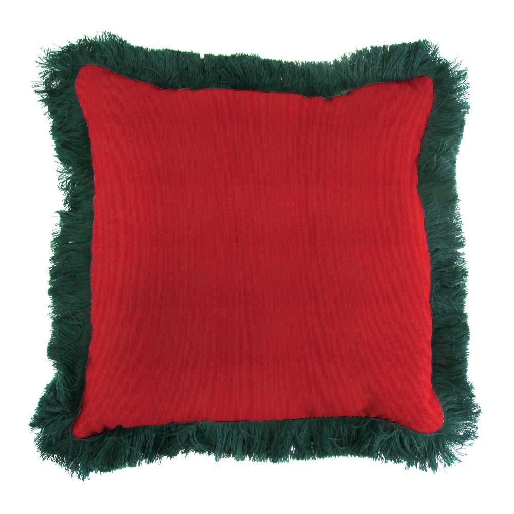 Sunbrella Spectrum Crimson Square Outdoor Throw Pillow with Forest Green Fringe