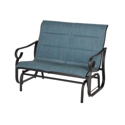 Crestridge Steel Padded Sling Outdoor Patio Glider in Conley Denim
