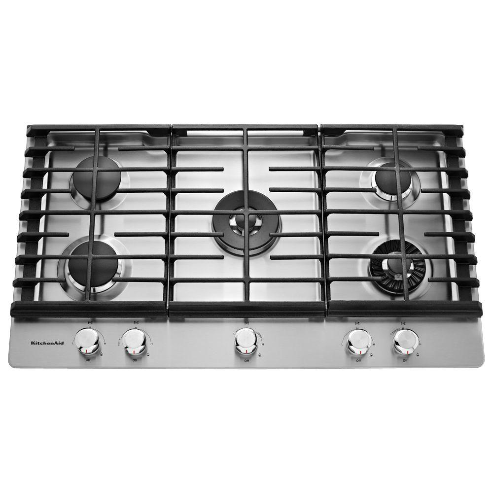 Kitchenaid 36 In Gas Cooktop Stainless Steel With 5 Burners Including Professional Dual Tier