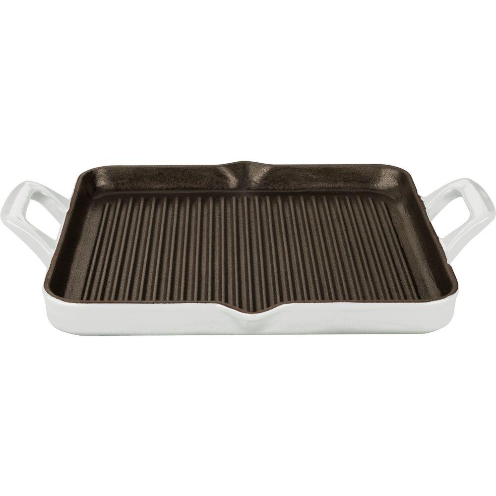 1 Qt. Cast Iron Rectangular Grill Pan with White Enamel