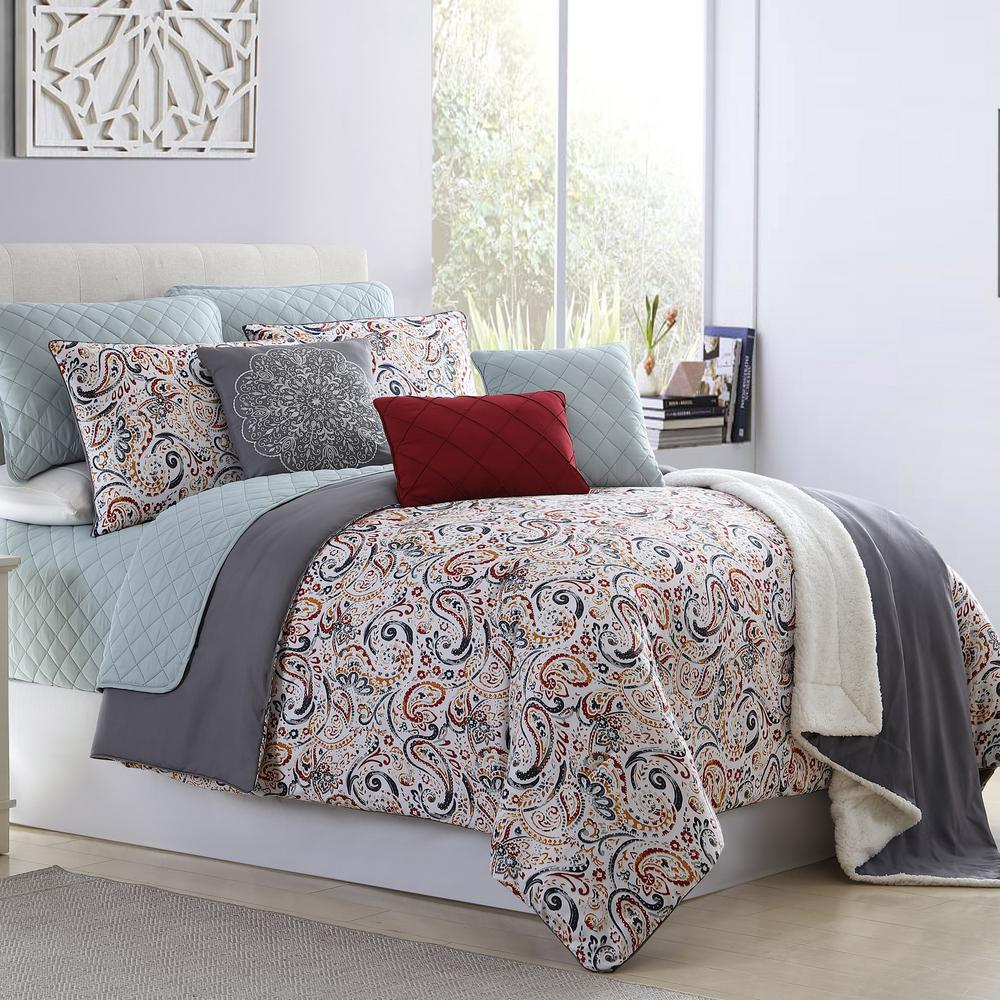 Mavia 10-Piece Multi-Color Queen Comforter/Coverlet Set