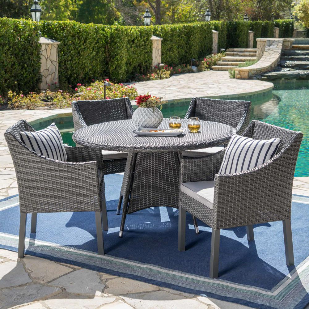 Noble House Gray 5-Piece Wicker Round Outdoor Dining Set with Silver Cushion