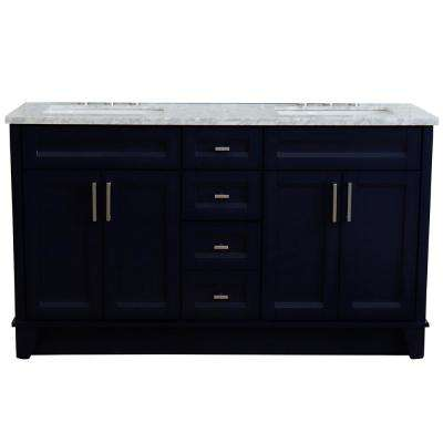 61 in. W x 22 in. D Double Bath Vanity in Blue with Marble Vanity Top in White Carrara with White Rectangle Basins