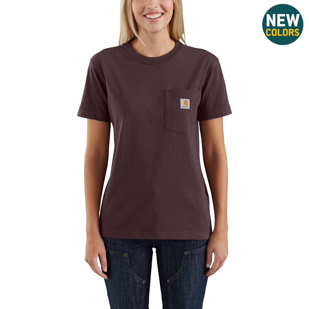fc58b43f72 Carhartt Women's Small Deep Wine Cotton Workwear Pocket Short Sleeve ...