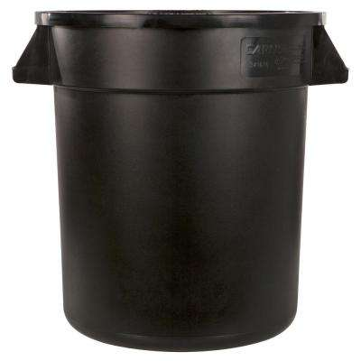 Bronco 55 Gal. Black Round Trash Can (2-Pack)