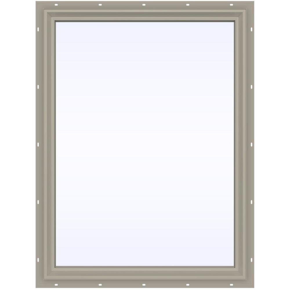 JELD-WEN 35.5 in. x 47.5 in. V-2500 Series Desert Sand Vinyl Picture Window w/ Low-E 366 Glass