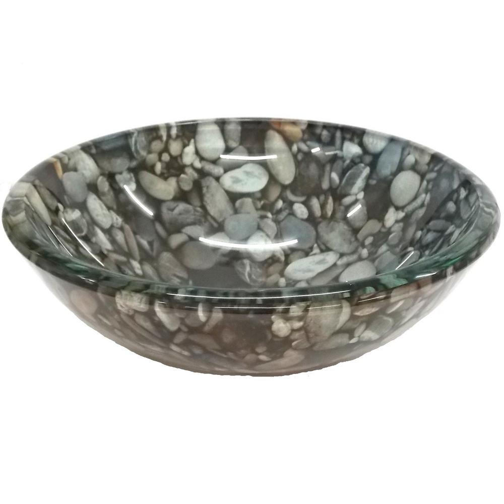 Eden Bath Small Natural Pebble Pattern Glass Vessel Sink In Multi Colors With Pop-Up Drain And