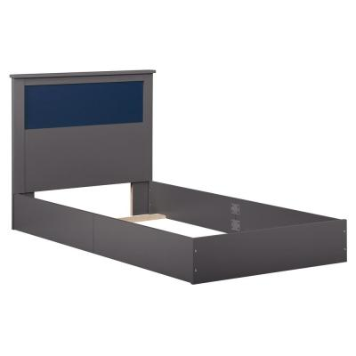 Jewel Graphite, Blue and Pink Twin Bed with Reversible Headboard