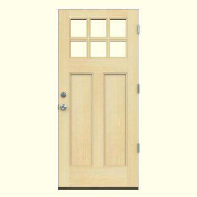 36 in. x 80 in. 6 Lite Craftsman Unfinished Wood Prehung Left-Hand Outswing Front Door w/Primed Rot Resistant Jamb